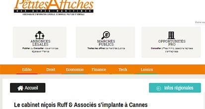 «Le cabinet niçois Ruff & Associés s'implante à Cannes»
