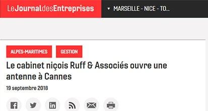 «Le cabinet niçois Ruff & Associés ouvre une antenne à Cannes»